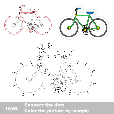 Bicycle. Dot to dot educational game for kids, task is to connect dots by numbers. 矢量图像