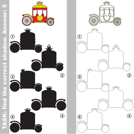 Red Princess Chariot with different shadows to find the correct one, compare and connect object with it true shadow, the educational kid game with simple gaming level.