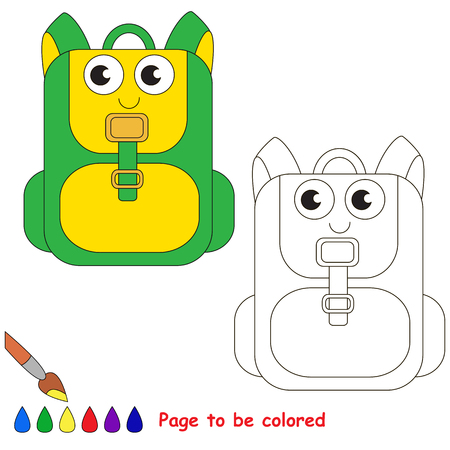 Green School bag to be colored, the coloring book for preschool kids with easy educational gaming level.