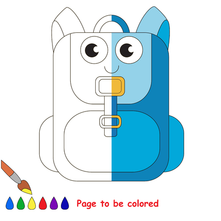 Blue Backpack, the coloring book to educate preschool kids with easy gaming level, the kid educational game to color the colorless half by sample.