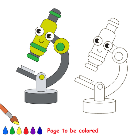 Funny Beautiful Toy Green Microscope to be colored, the coloring book for preschool kids with easy educational gaming level.