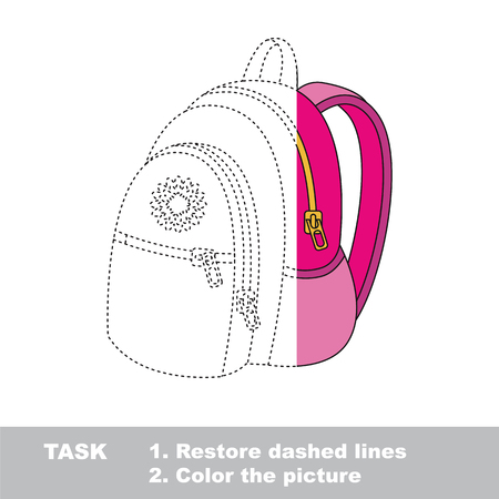 colorless: Pink Backpack. Dot to dot educational game for kids, task is to trace and color the colorless half.