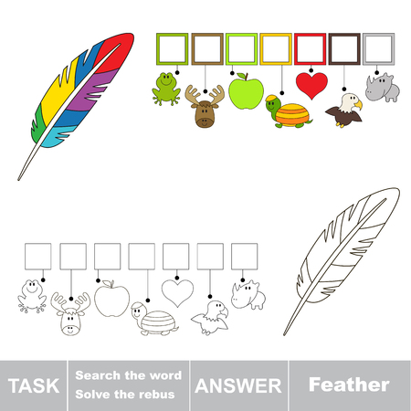 Educational puzzle game for kids. Find the hidden word Rainbow Feather Ilustração