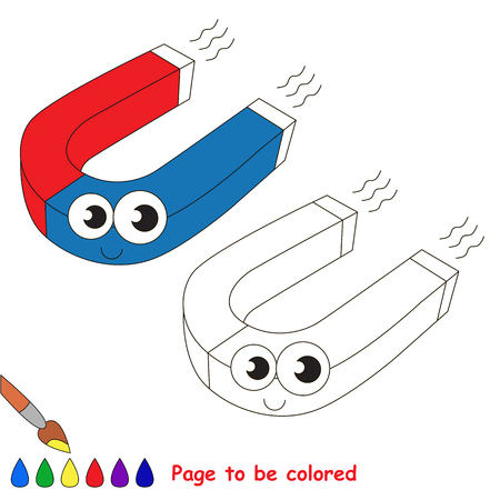 Funny Beautiful Red and Blue Magnet to be colored, the coloring book for preschool kids with easy educational gaming level.