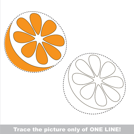 Orange. Dot to dot educational game for kids, the one line tracing page.