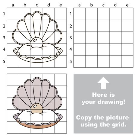 perl: Copy the picture using grid lines, the simple educational game for preschool children education with easy gaming level, the kid drawing game with Oyster Illustration