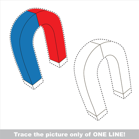 magnetismo: Magnet. Dot to dot educational game for kids, the one line tracing page. Vettoriali