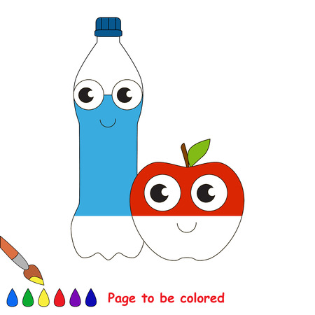Water Bottle and Apple, the coloring book to educate preschool kids with easy gaming level, the kid educational game to color the colorless half by sample. 向量圖像