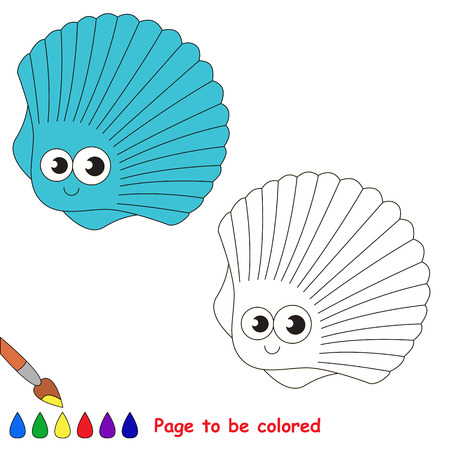 Funny Beautiful Blue Seashell to be colored, the coloring book for preschool kids with easy educational gaming level.