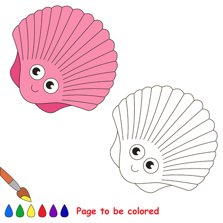 Pink Funny Seashell to be colored, the coloring book for preschool kids with easy educational gaming level.