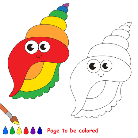 Funny Beautiful Rainbow Colorful Seashell to be colored, the coloring book for preschool kids with easy educational gaming level.