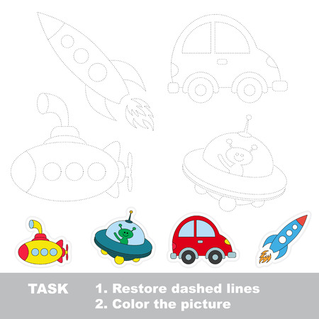 Submarine and ufo and car and rocket, the Transport tracing set. Dot to dot educational game for kids.