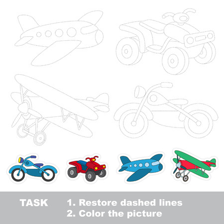 Transport tracing set, the plane, the quad bike, the biplan, the bike. Dot to dot educational game for kids.