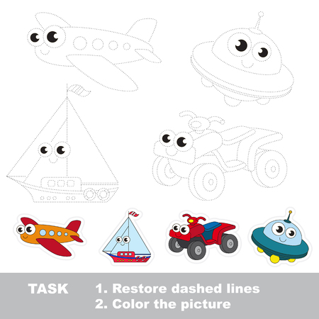 Airplane and yacht and quad bike and ufo. Dot to dot educational game for kids.