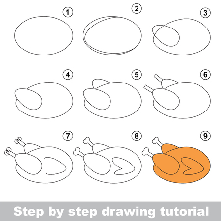 Kid game to develop drawing skill with easy gaming level for preschool kids, drawing educational tutorial for Grilled Chicken