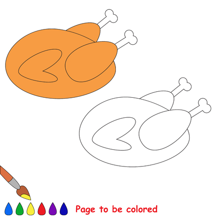 Grilled chicken to be colored, the coloring book for preschool kids with easy educational gaming level. Illustration
