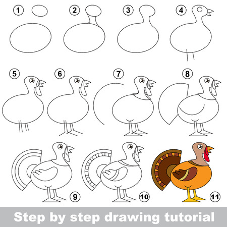 Kid game to develop drawing skill with easy gaming level for preschool kids, drawing educational tutorial for Beautuful Turkey