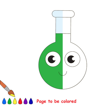 Funny Glass Vial Tube with Green Liquid, the coloring book to educate preschool kids with easy gaming level, the kid educational game to color the colorless half by sample.