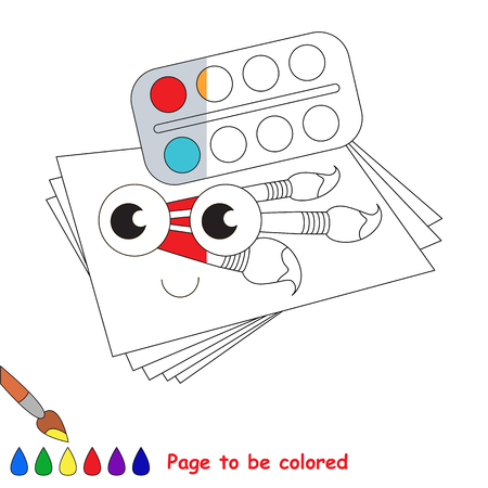 Funny Watercolor set with paper and brushes, the coloring book to educate preschool kids with easy gaming level, the kid educational game to color the colorless half by sample.