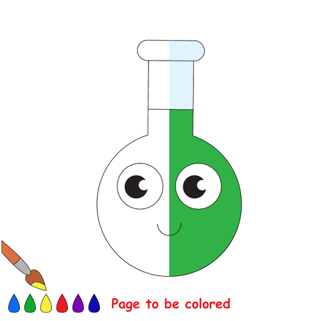 test tube babies: Glass Vial Tube with Green Liquid, the coloring book to educate preschool kids with easy gaming level, the kid educational game to color the colorless half by sample. Illustration