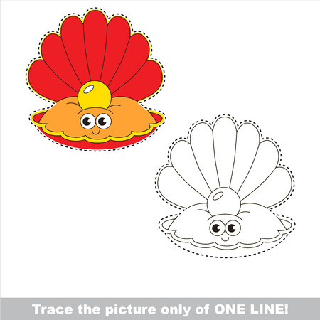 Funny Beautiful Red Oyster with Gold Pearl. Dot to dot educational game for kids. Tracing worksheet only of one line.