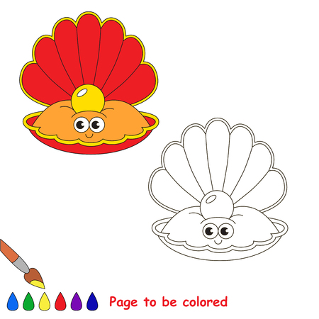 perl: Funny Beautiful Red Oyster with Gold Pearl to be colored, the coloring book for preschool kids with easy educational gaming level.