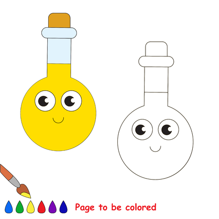 Funny Beautiful Tube Vial with yellow liquid to be colored, the coloring book for preschool kids with easy educational gaming level. Illustration