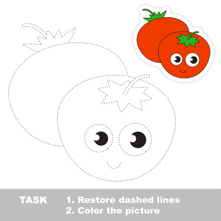 pondering: Two Funny Red Tomatoes. Dot to dot educational game for kids.