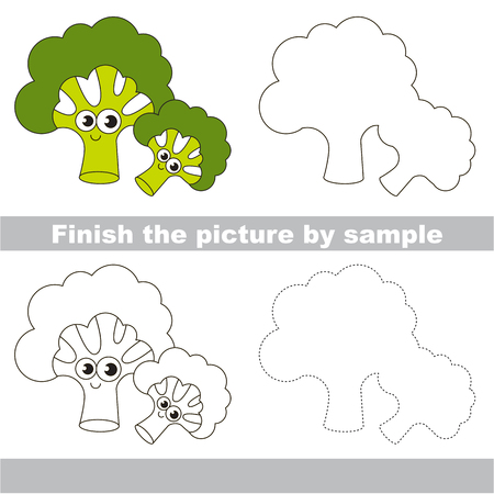 Drawing worksheet for preschool kids with easy gaming level of difficulty, simple educational game for kids to finish the picture by sample and draw the Funny Broccolies