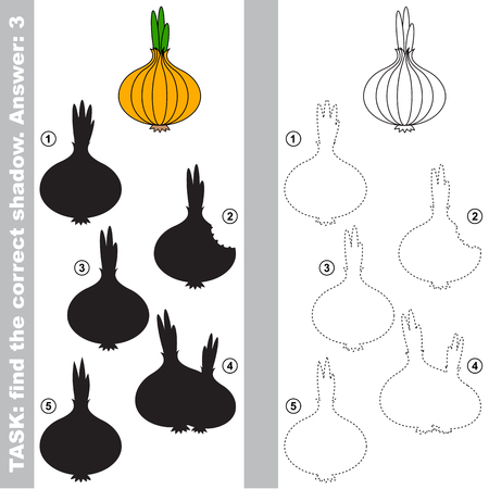 Onion with different shadows to find the correct one, compare and connect object with it true shadow, the educational kid game with simple gaming level. Illustration