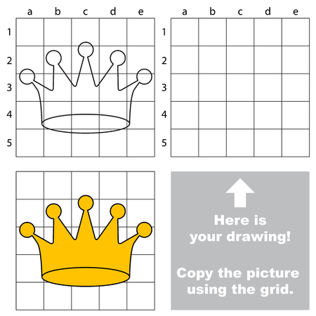 preliminary: Copy the picture using grid lines, the simple educational game for preschool children education with easy gaming level, the kid drawing game with Crown Illustration
