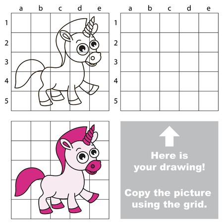Copy the picture using grid lines, the simple educational game for preschool children education with easy gaming level.