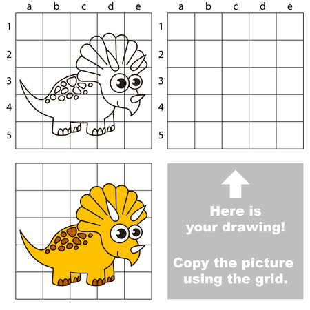 Simple learning game for preschool kids easy gaming level, drawing game with Dinosaurus.