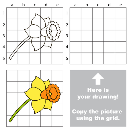 jonquil: Copy the picture using grid lines, the simple educational game for preschool.