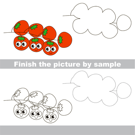 cartoon tomato: Drawing worksheet for preschool kids with easy gaming level of difficulty, simple educational game for kids to finish the picture by sample and draw the Cherry Tomatoes
