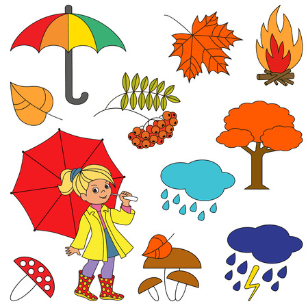Autumn elements set, collection of coloring book template, the group of outline digital elements vector illustration, kid game page. Illustration