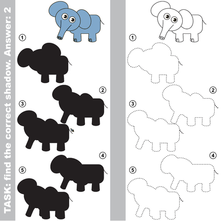 funny baby: Elephant with different shadows to find the correct one, compare and connect object with it true shadow, the educational kid game with simple gaming level. Illustration