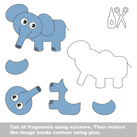 Use scissors and glue and restore the picture inside the contour. Easy educational paper game for kids. Simple kid application with Elephant