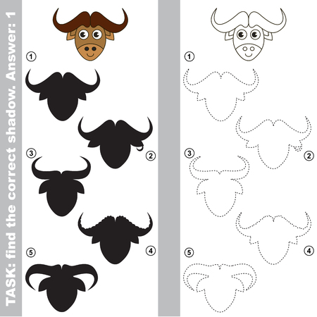 funny ox: Ox with different shadows to find the correct one, compare and connect object with it true shadow, the educational kid game with simple gaming level.