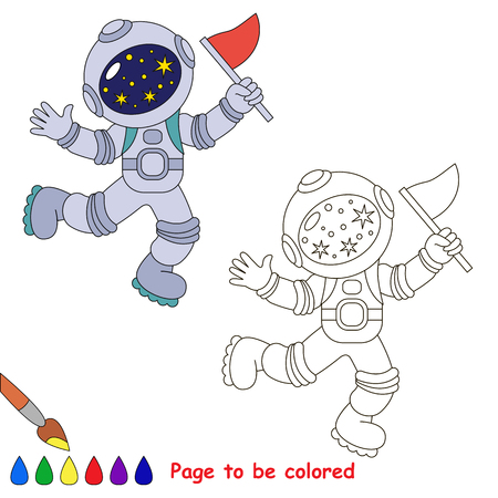 Spaceman with flag to be colored, the coloring book for preschool kids with easy educational gaming level.