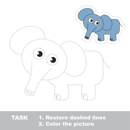 joining the dots: Elephant. Dot to dot educational game for kids.