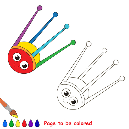 Satellite to be colored, the coloring book for preschool kids with easy educational gaming level.