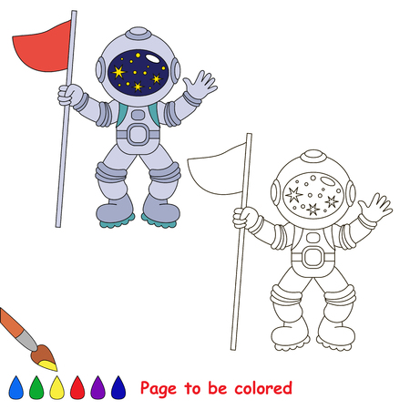 Astronaut to be colored, the coloring book for preschool kids with easy educational gaming level.
