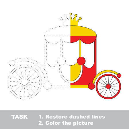 joining the dots: Chariot. Dot to dot educational game for kids. Half tracing and coloring book. Illustration