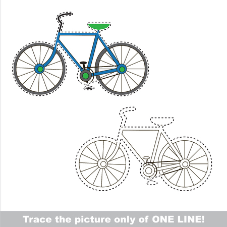 Two wheeled bicycle to be traced only of one line, the tracing educational game to preschool kids with easy game level, the colorful and colorless version.