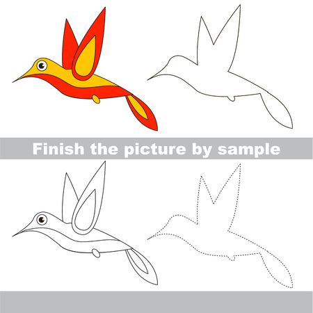 Drawing worksheet for preschool kids with easy gaming level of difficulty, simple educational game for kids to finish the picture by sample and draw the Hummingbird