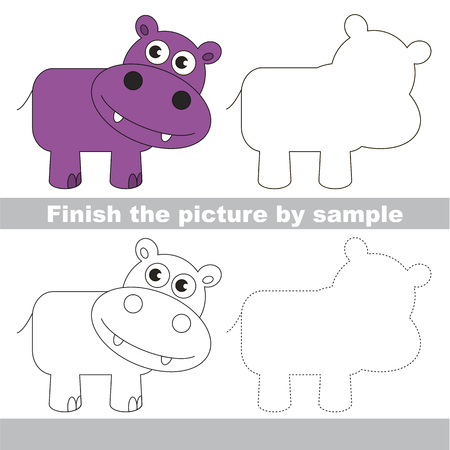 Drawing worksheet for preschool kids with easy gaming level of difficulty, simple educational game for kids to finish the picture by sample and draw the Hippo
