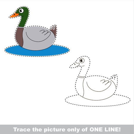 Duckling to be traced only of one line, the tracing educational game to preschool kids with easy game level, the colorful and colorless version.