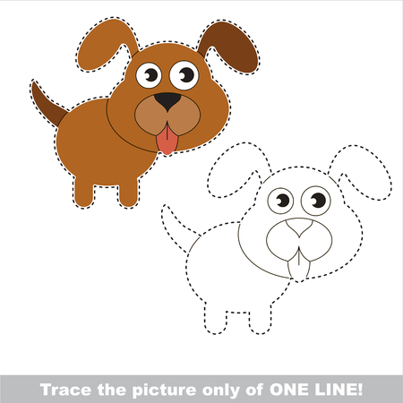 joining the dots: Dog puppy to be traced only of one line, the tracing educational game to preschool kids with easy game level, the colorful and colorless version.