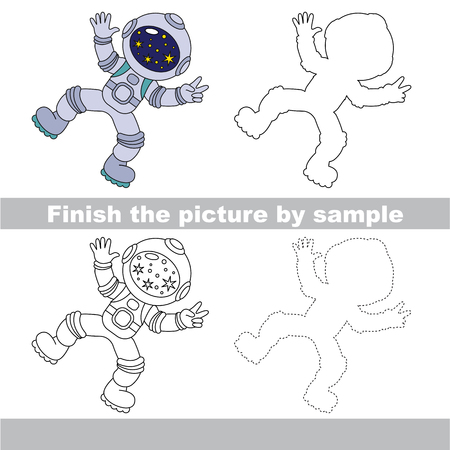 Drawing worksheet for preschool kids with easy gaming level of difficulty, simple educational game for kids to finish the picture by sample and draw the Spaceman 向量圖像